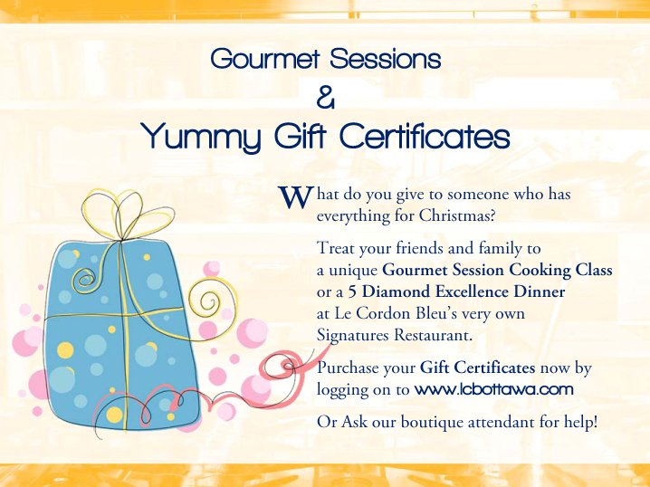 Gourmet Sessions Gift Certificate information