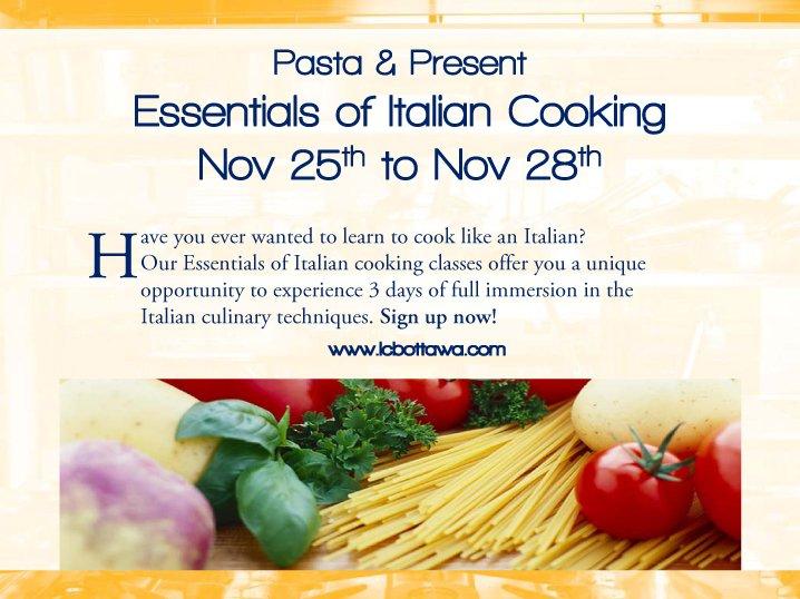Pasta cooking class info