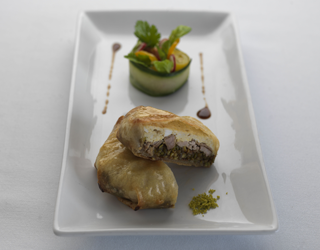 Recipe - Quail and pistachio pastilla, cinnamon jus, mint and cilantro salad