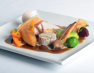 Recipe - Roast turkey with chestnut stuffing, seasonal vegetables, cranberry compote and port wine jus