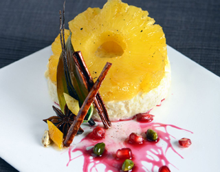Recipe - Spice roasted pineapple with creamy rice and pomegranate syrup