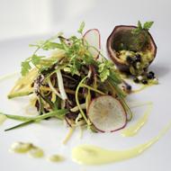 Green papaya salad with garden vegetables and a papaya vinaigrette