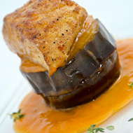 Mildly spiced turbot, eggplant confit, sweet and sour sauce