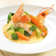 Tangy langoustine soup with crunchy vegetables of the moment