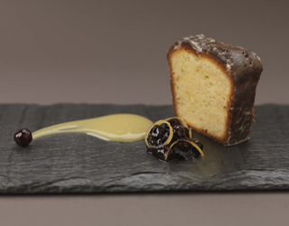 Recipe - Olive oil cake, lemon curd and blueberry compote
