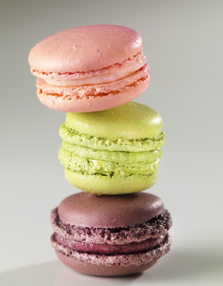 Recipe - Raspberry, pistachio and black cherry macaroons