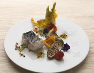 Recipe - Thick sea bass steak with wild fennel stems, confit provencal vegetables and vierge sauce