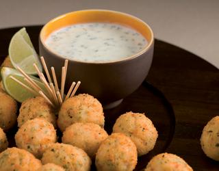Recette - Beignets de crabe, sauce au citron vert et au yaourt