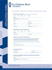 Gourmet and Short Courses Application Form - London