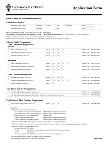 Application Form - Culinary Arts Programme (International Student)-TH