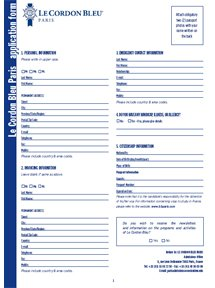 Application Form Culinary Arts
