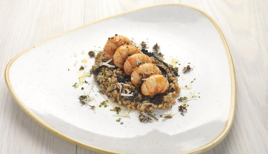 Truffle glazed langoustines, spelt and horn of plenty mushroom 'risotto'
