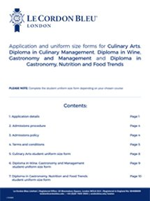 Culinary Arts (Cuisine, Pastry and Boulangerie) Application Form - London