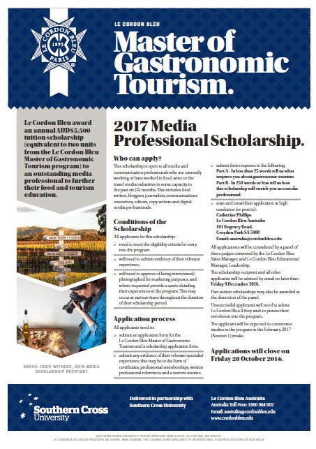 Le Cordon Bleu Master of Gastronomic Tourism - Media Scholarship Application Form