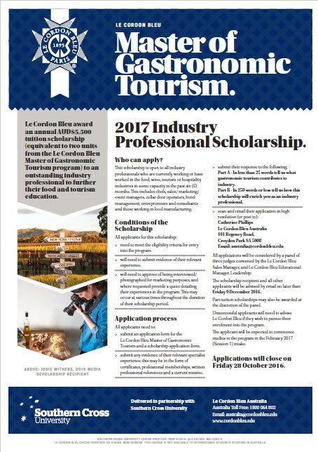 Le Cordon Bleu Master of Gastronomic Tourism - Industry Scholarship Application Form