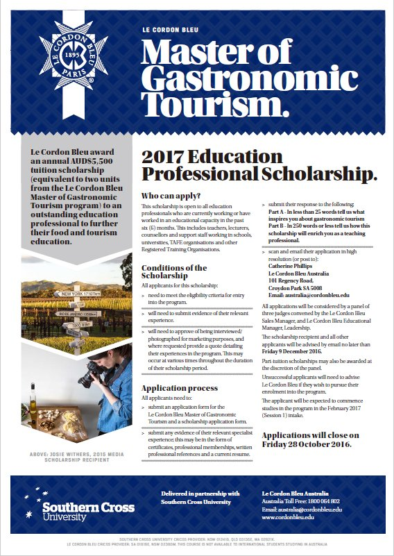 Le Cordon Bleu Master of Gastronomic Tourism - Education Scholarship Application Form