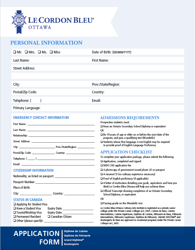 Ottawa Application Form and Information