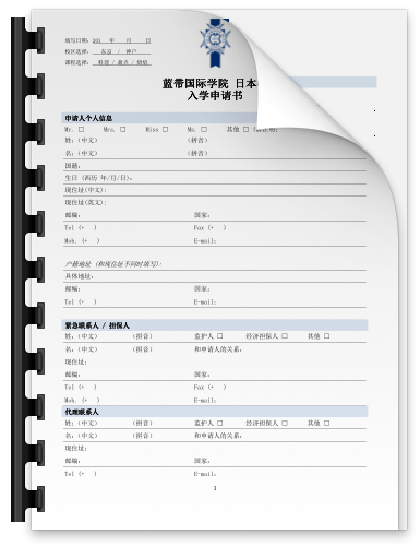 Application Form - Simple Chinese