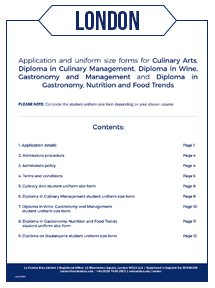 Culinary Arts, Boulangerie, Nutrition, Wine & Management Application Form - London