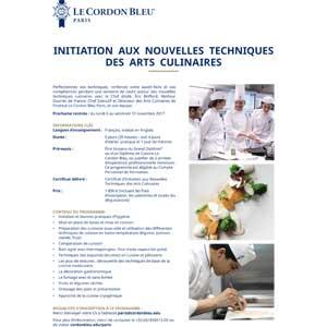 Initiation aux nouvelles techniques des arts culinaires