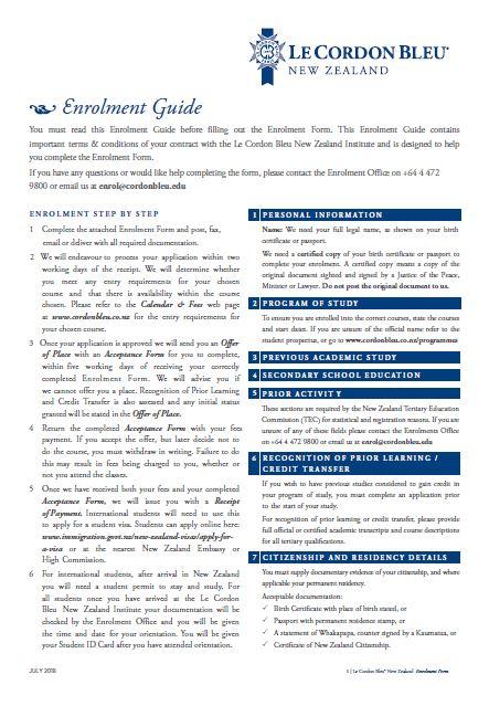 Le Cordon Bleu New Zealand Enrolment Form 2018