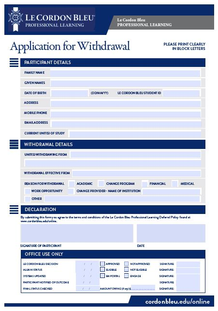 Application For Withdrawal Form