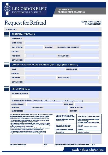 Request For Refund Form