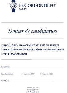 Dossier de Candidature - Bachelor et Vin