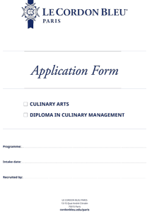 Application Form - Culinary Arts and DCM