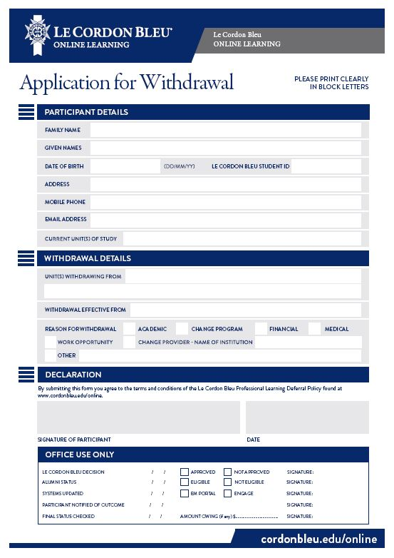 Online Learning Application For Withdrawal Form