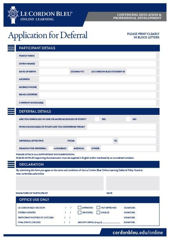 Online Learning Application For Deferral Form