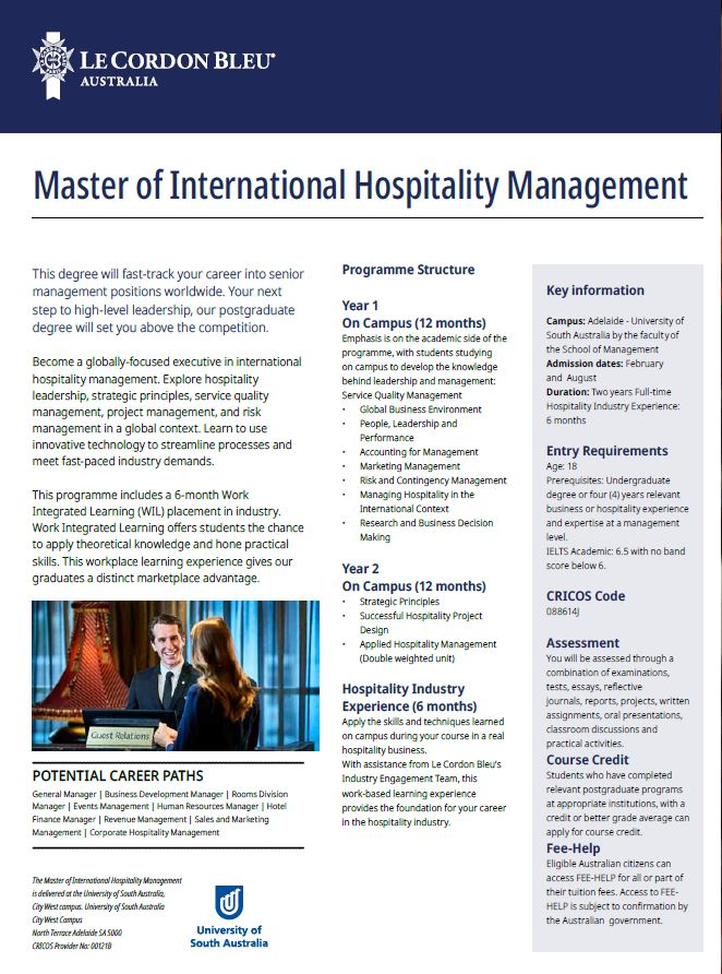Master of International Hotel Management Brochure