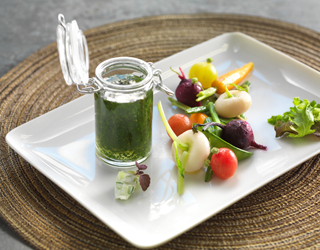 Recipe - Seasonal market salad, crisp vegetables with herb jelly and baby beetroot, gourmand vinaigrette