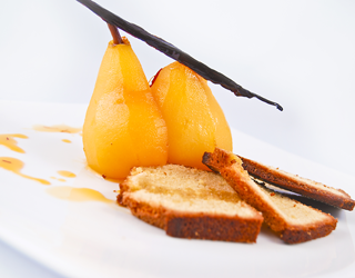 Recipe - Pistachio cake with spiced poached pear