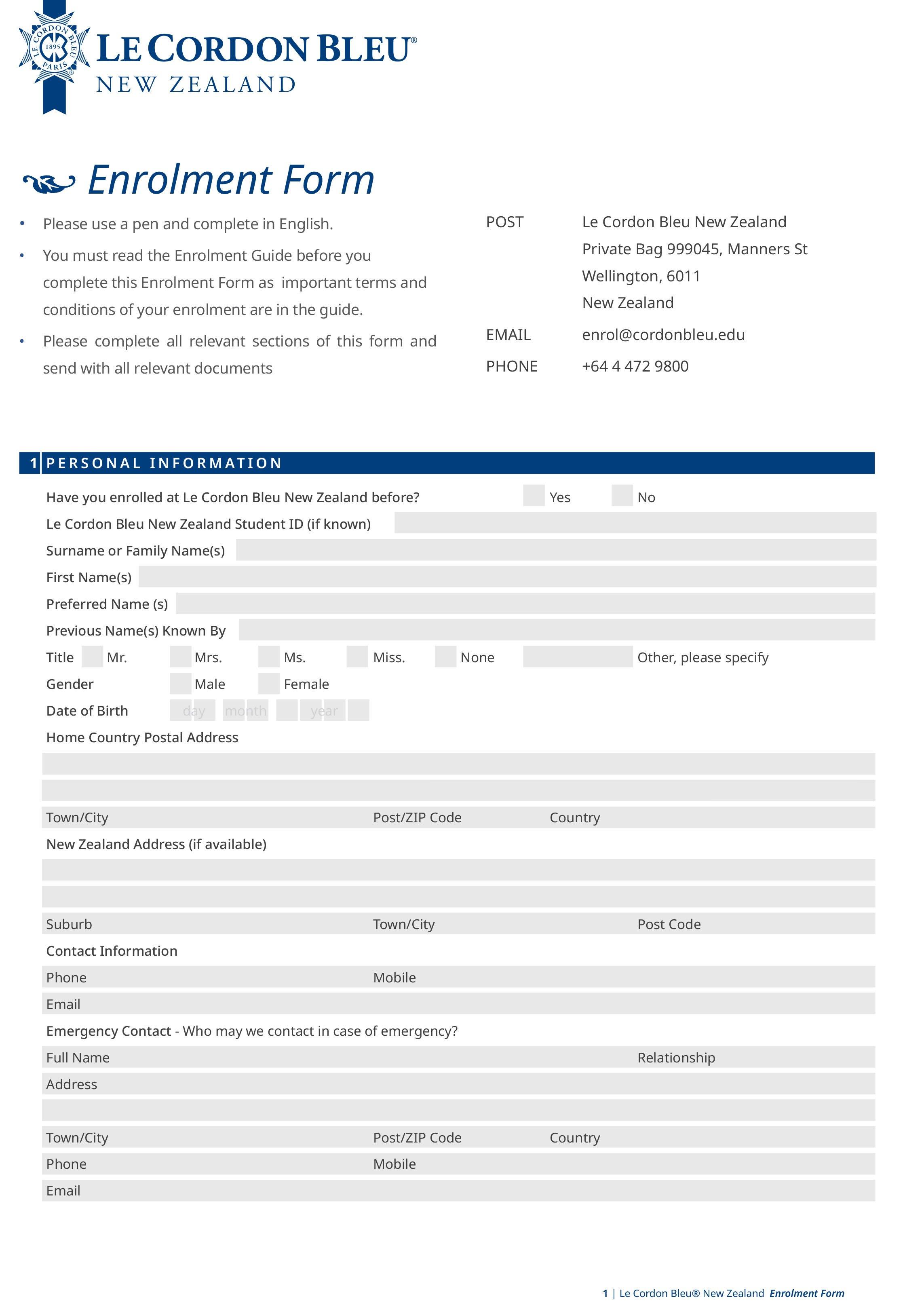 Le Cordon Bleu New Zealand Enrolment Form