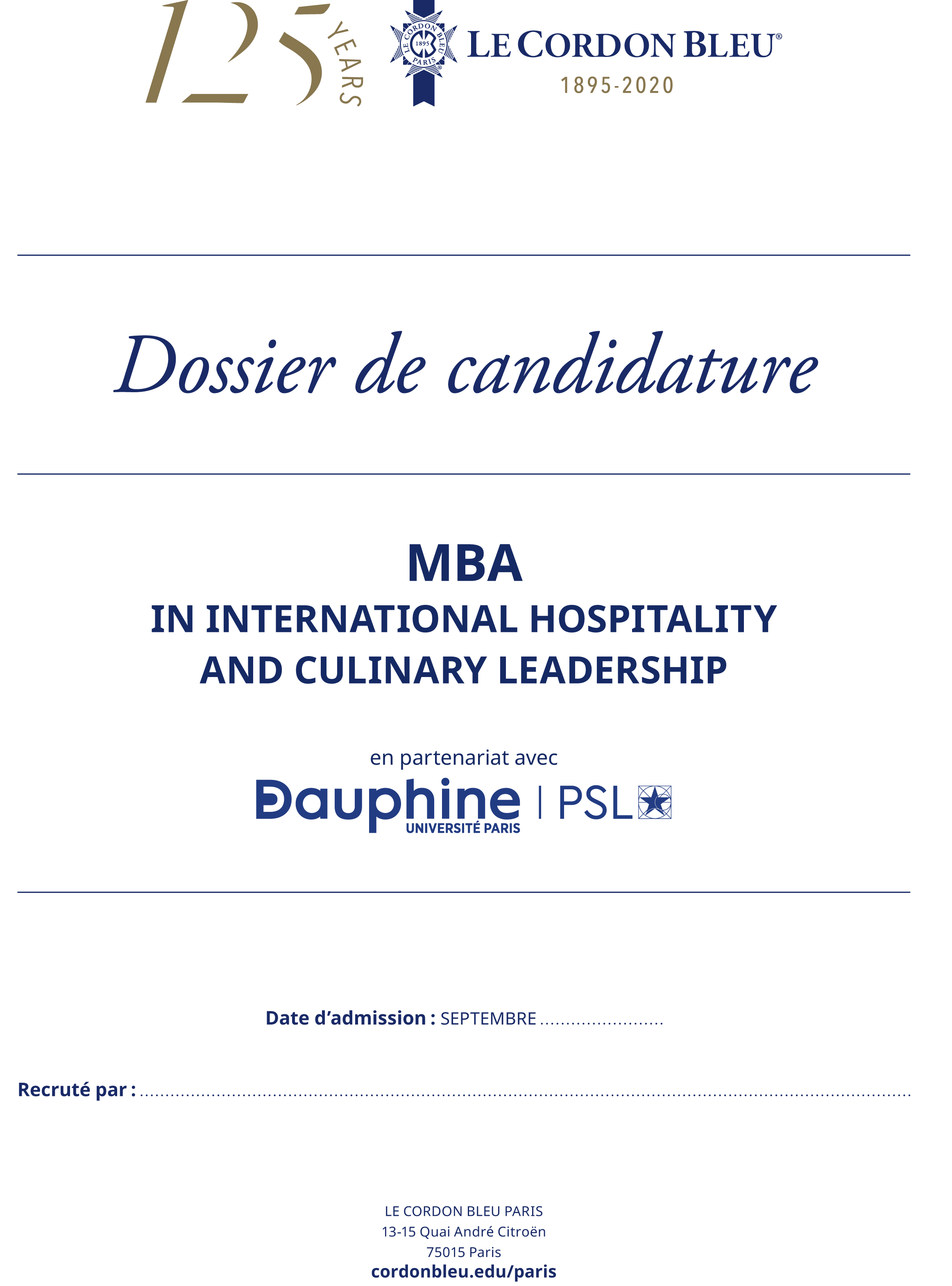 Dossier de candidature - MBA in International Hospitality and Culinary Leadership