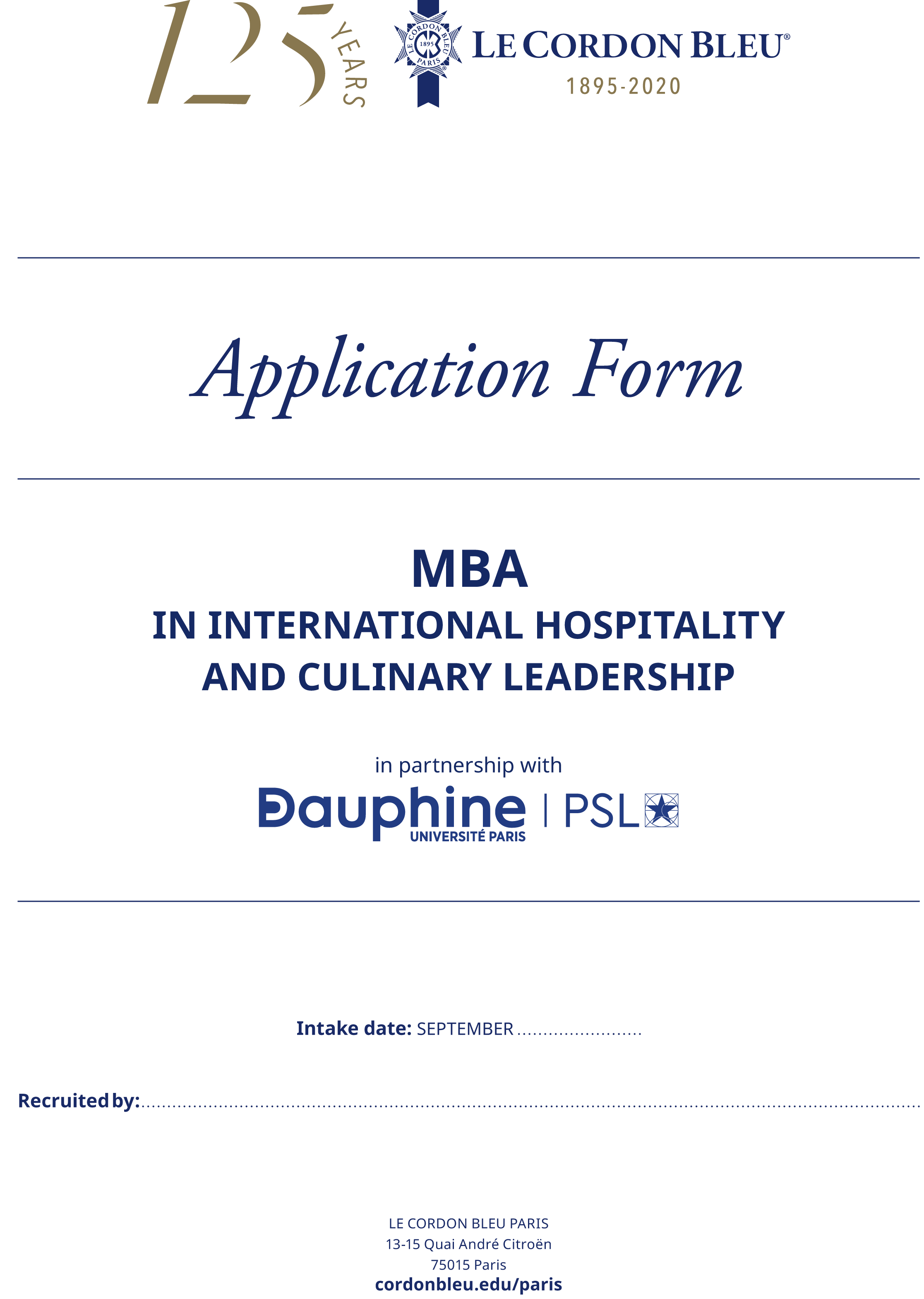 Application form - MBA in International Hospitality and Culinary Leadership