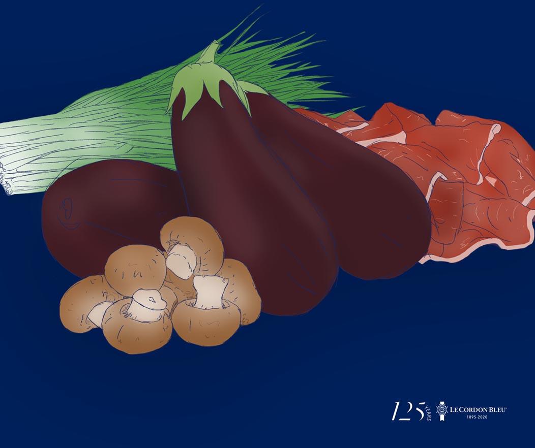 Berenjena rellena de jamón y champiñones