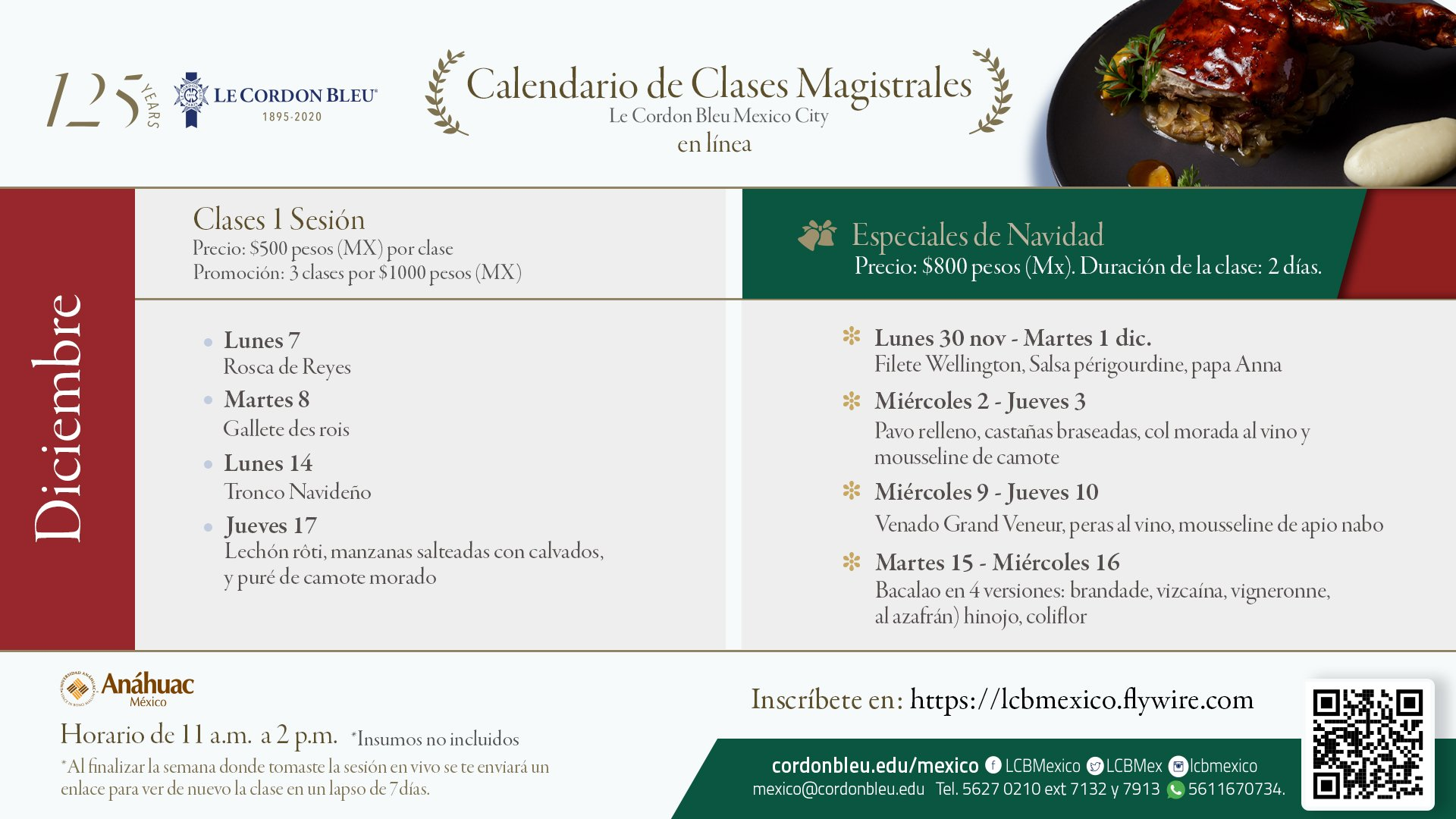 Calendario Clases magistrales en línea