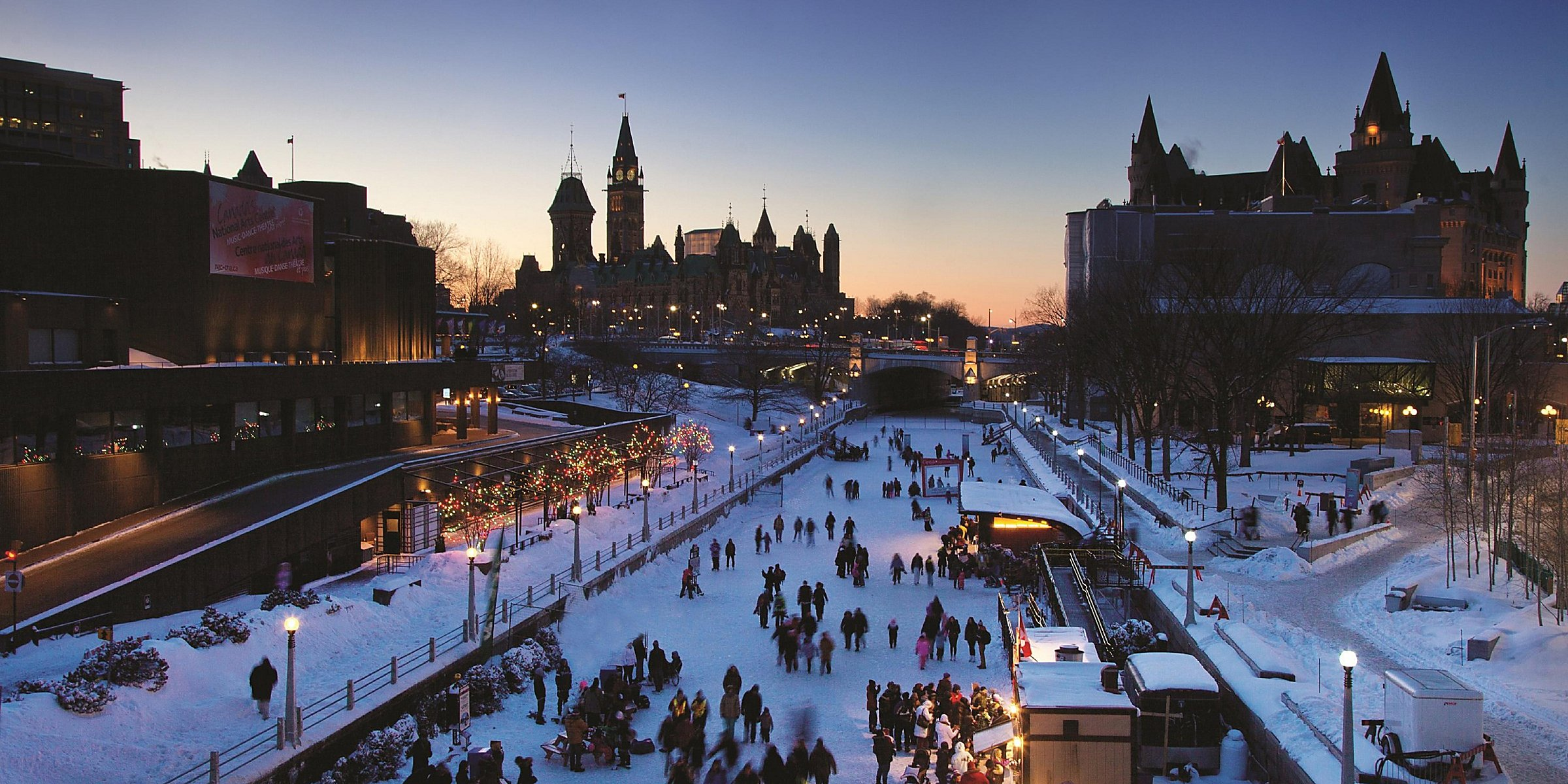 Photo of people ice skating on Rideau Canal in winter, Ottawa