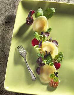 Recette - « Ravioles » de pommes camembert, salade à l'huile de noix