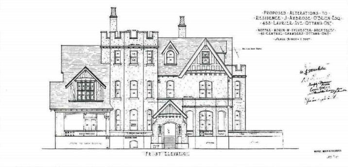 Proposed alterations to residence J. Ambrose O'Brien, Esq., 453 Laurier Avenue East, Ottawa, Ont. Noffke, Morin & Sylvester, architects, 1928 {Job #837]. (National Archives of Canada NMC 118351)