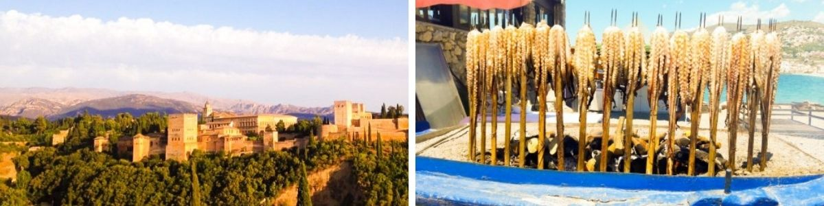 Granada - The view of The Alhambra and Village of Pampaneira