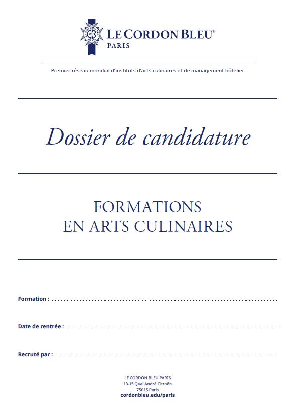 Dossier Candidature - Arts Culinaires et DCM