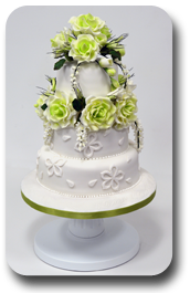 Three tier stack wedding cake