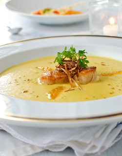Recipe - Leek and orange soup, grilled scallops