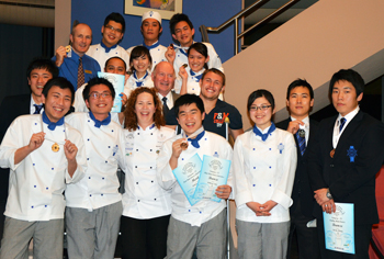 Chef Andre, Chef Karen, Michel & students