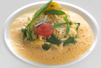recipe crab and orzo pasta, crab sauce, confit tomato and sea vegetables