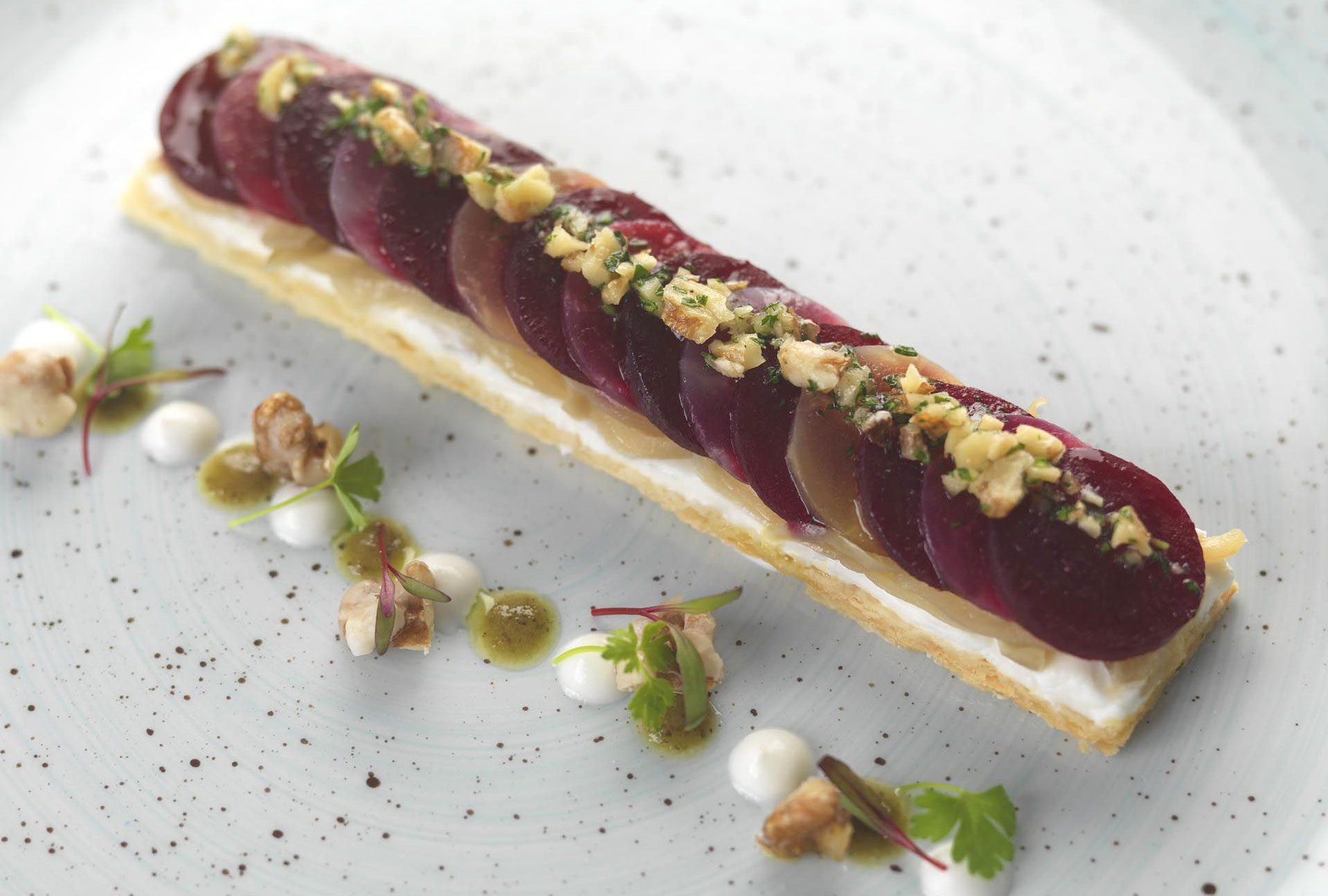 Recipe: Beetroot, onion and goat's cheese tart, walnut dressing and frosted walnuts
