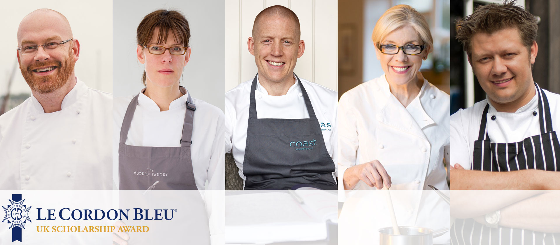 Mark Greenaway, Will Holland, Frances Atkins, Simon Hulstone and Anna Hansen chef partners of uk scholarship award 2016